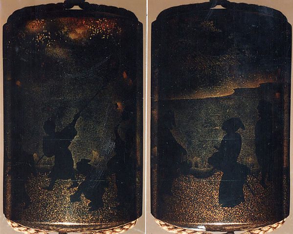 Case (Inrō) with Design of People Catching Fireflies