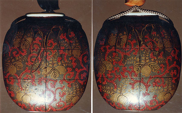 Case (Inrō) in Shape of Tea Caddy in Its Brocade Cover