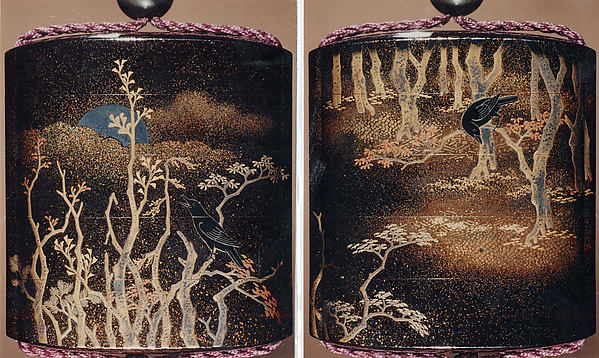 Case (Inrō) with Design of Trees, Crow, and Moon