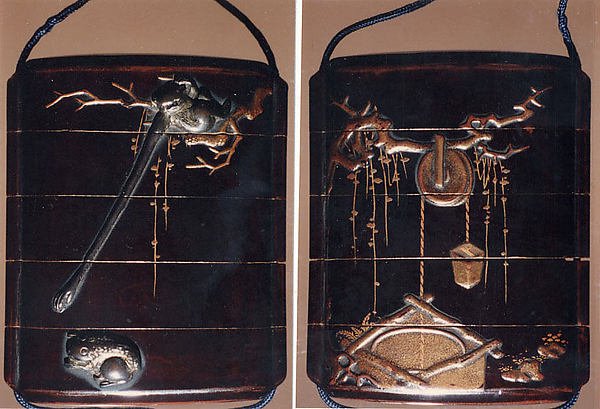 Case (Inrō) with Design of Gibbon Reaching for Frog (Symbol of Moon) (obverse); Well with Bucket (reverse)