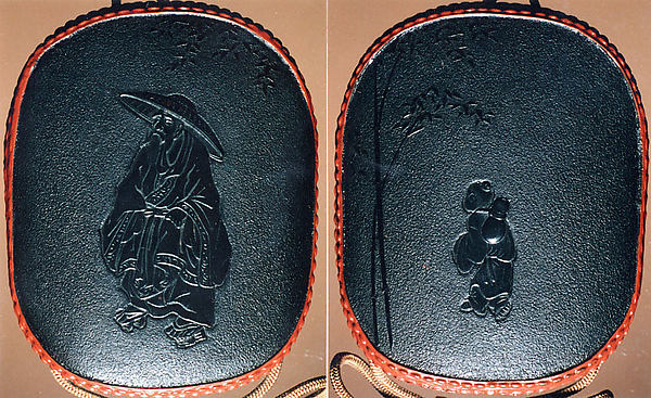 Case (Inrō) with Design of Chinese Sage (obverse); Attendant (Karako) Standing beside Bamboo (reverse)