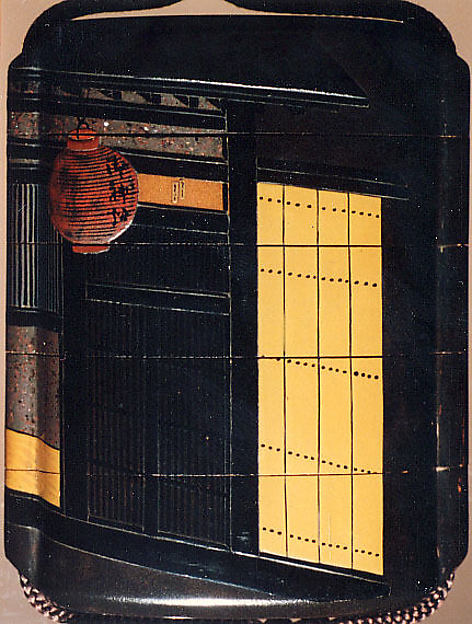 Case (Inrō) with Painting of Courtesan at Night (obverse); House Gate (reverse)