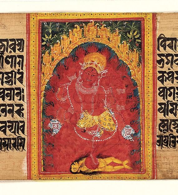 Kurukulla Dancing in Her Mountain Grotto: Folio from a Manuscript of the Ashtasahasrika Prajnaparamita (Perfection of Wisdom)