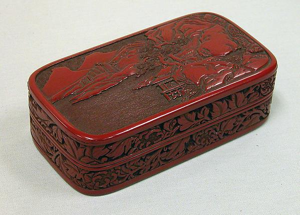 江戸時代 楼閣山水堆朱香合<br/>Box with Landscape and Scroll Pattern