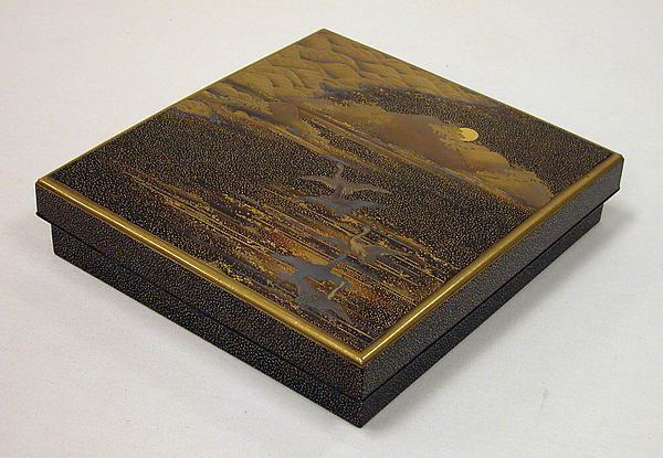 Writing Box with Flying Geese in the Autumn Night
