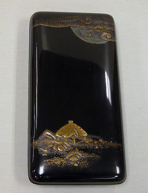 Writing Box with Design of Rustic Shelter and Clouds with Moon (cover), the Poet Saigyō Resting (inside)