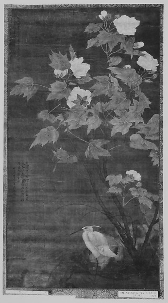 Hibiscus and Egret