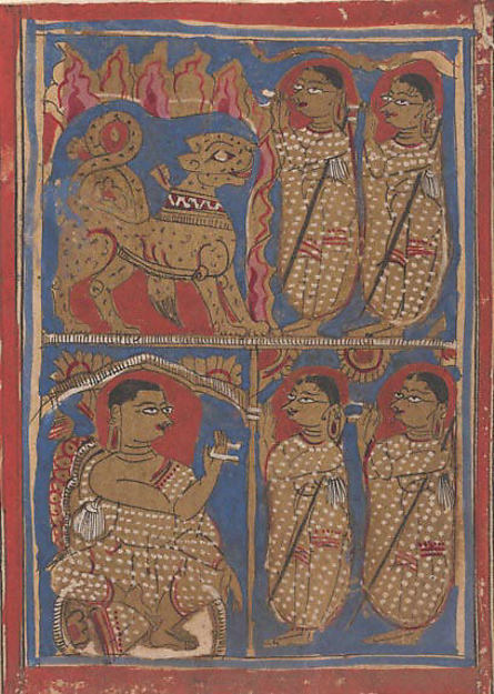 Sthulabhadra as a Lion in a Cave With His Sisters (top) / Sthulabhadra's Sisters Before Bhadrabahu (or Sthulabhadra) (bottom); Page from a Dispersed Kalpa Sutra (Jain Book of Rituals)