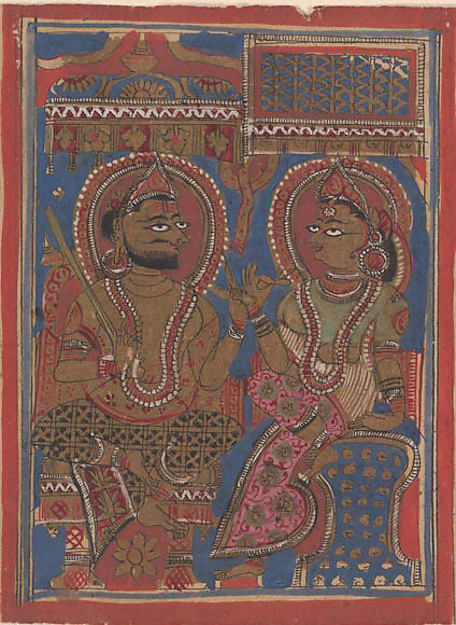 King Siddhartha Tells Queen Trisala the Meaning of the Fourteen Dreams (left) and The Interpretation of Dreams (right): Folio from a Kalpasutra Manuscript