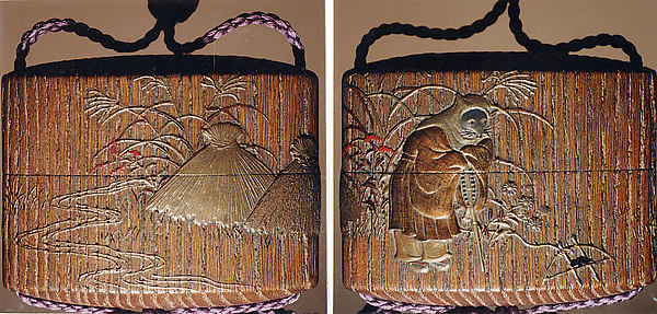 "Case (Inrō) with a Fox from the Kyōgen Play ""The Fox Hunter"" (Tsurigitsune) (obverse); Haystacks and Stream from the Kyōgen Play ""Hakuzosu"" (reverse)"