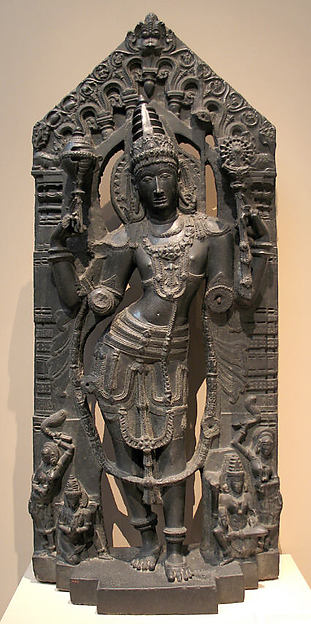 Vishnu with His Mount, Garuda, His Consort, Lakshmi, and Attendants
