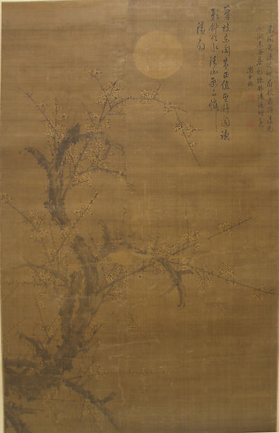 明  劉世儒  月下雪梅圖  軸<br/>Flowering Plum in Moonlight and Snow