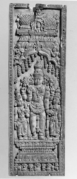 Vishnu Standing between His Consorts, Lakshmi and Sarasvati