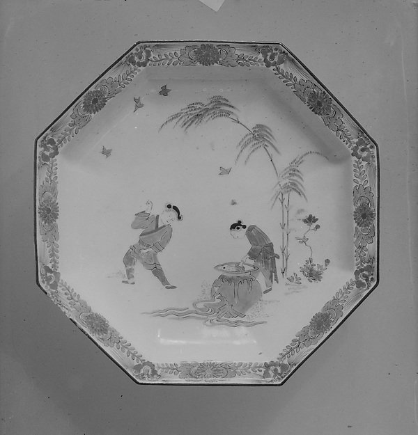 Octagonal Dish with Design of the Story of Si Maguang (