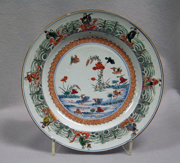 Plate with lotus pond and Daoist immortals