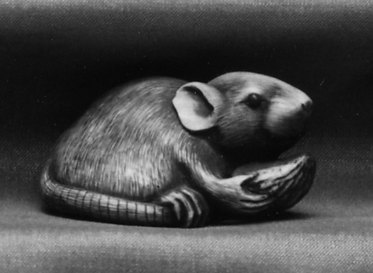 Netsuke of Mouse Eating a Pit
