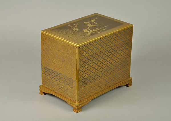 Set of Five Writing Boxes with Japanese Globeflowers, Plum Blossoms, and Interlaced Roundels