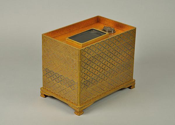 山吹蒔絵五段重硯箱<br/>Set of Five Writing Boxes with Japanese Globeflowers, Plum Blossoms, and Interlaced Roundels