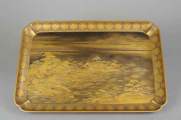 Tray with Design of Pines Along the Shore