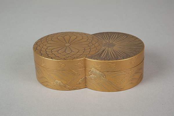 Incense Box in Shape of Overlapped Chrysanthemums; The Chrysanthemum Youth (Inside Tray)