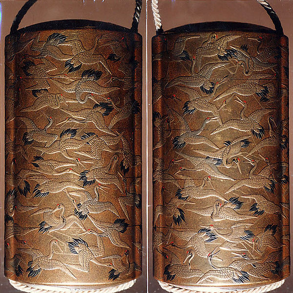 Case (Inrō) with Design of Cranes in Flight