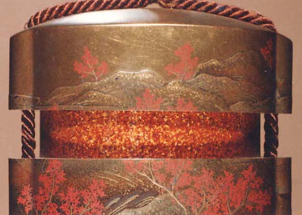 Case (Inrō) with Design of Flowering Cherry Trees Beside Winding  River (obverse); Maple Trees in Autumn (reverse)
