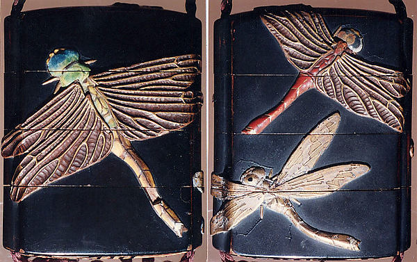 Case (Inrō) with Design of Three Large Dragonflies