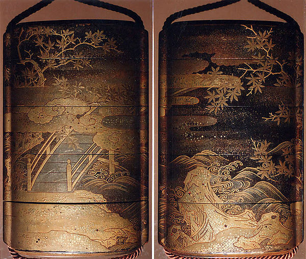 Case (Inrō) with Design of a Diagonal Bridge Seen among Clouds and Maple Branches (obverse); Rocks and Waves beneath Maple Trees and Clouds (reverse)