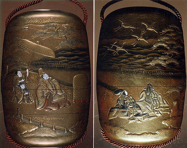 Case (Inrō) with Design of Minamoto no Yoritomo and Courtiers Watching Released Cranes Fly Away at Akanumagahara