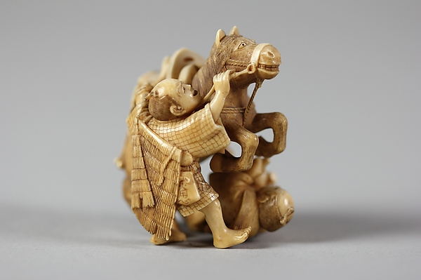 Netsuke of Horse and Two Men