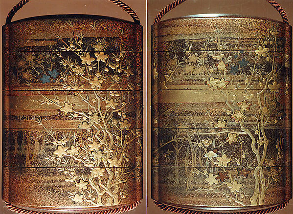 Case (Inrō) with Design of Flowering Peach Branches with Trees and Clouds