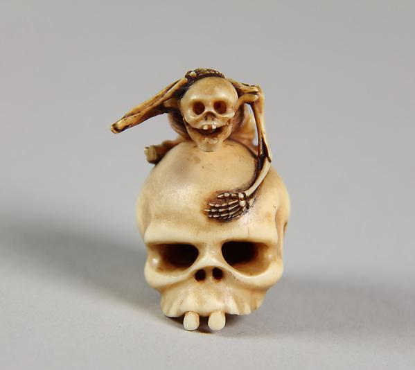 Skeleton Astride a Skull