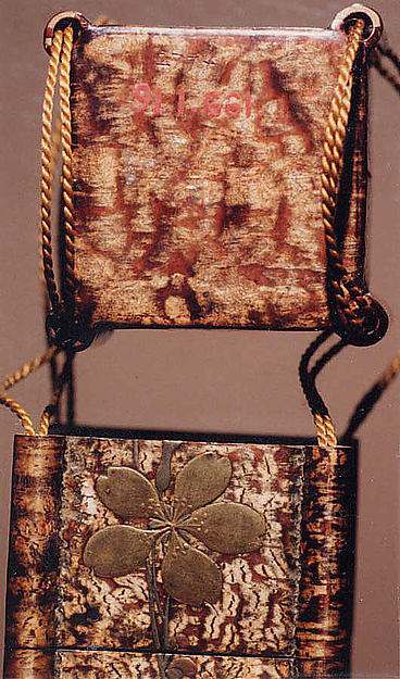 Case (Inrō) in the Shape of Tiered Picnic Box of Cherry Bark with Cherry Blossoms and Butterfly