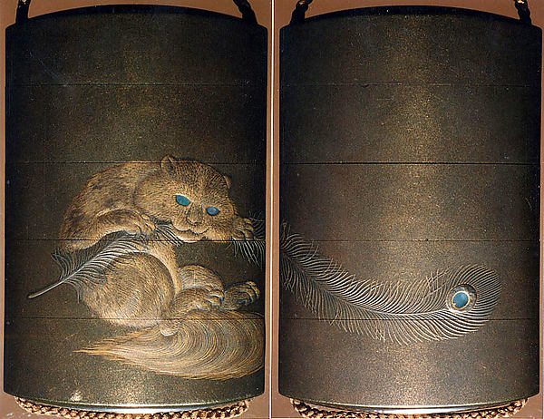 Case (Inrō) with Design of an Animal Biting a Feather