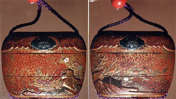 Case (Inrō) with Design of Various Flowers Growing beside Rocks and Fence