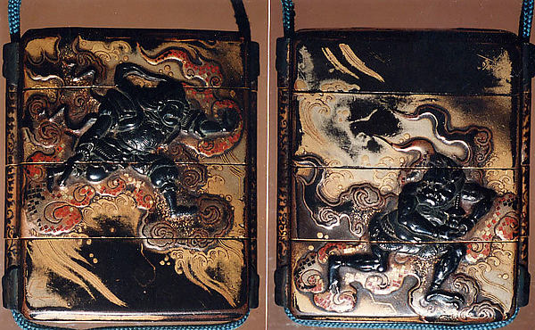 Case (Inrō) with Design of Bishamon (or Idaten) Pursuing an Onî (Demon) on Clouds