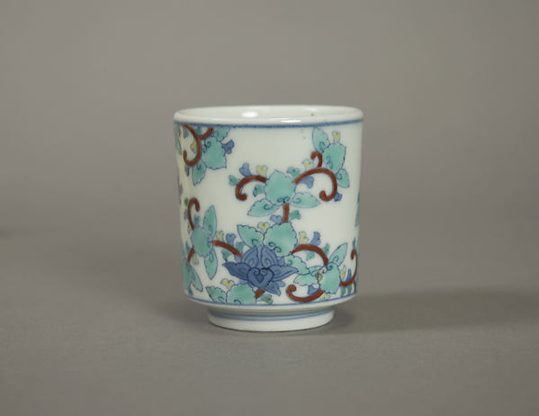 One of Three Cups with Floral Designs, from a Set of Twenty