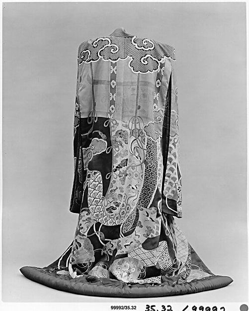 Overrobe (Uchikake) with Design of Bamboo Curtains (Sudare), Curtain of State, and Fans