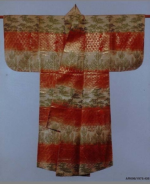 紅白段竹若松模様唐織<br/>Noh Robe (Karaori) with Pattern of Bamboo and Young Pines on Bands of Red and White