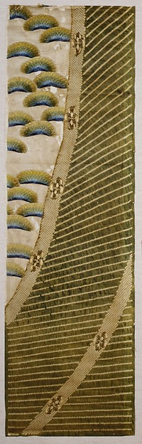 Kosode Fragment with Bamboo Curtain and Pines