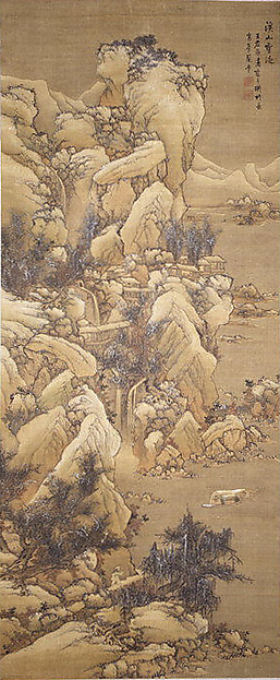 明 藍孟 溪山雪泛圖 軸 紙本<br/>Boating amid Snowy Streams and Mountains