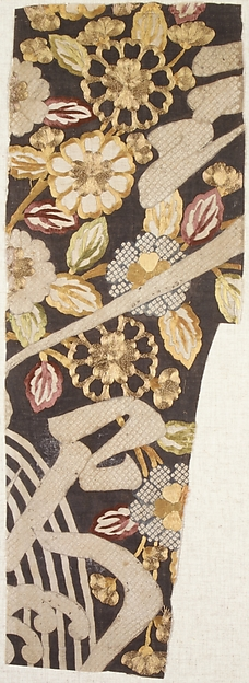 Piece from a Summer Kosode (Katabira) with Kerria Roses (Yamabuki), Flowing Water, and Partial Characters