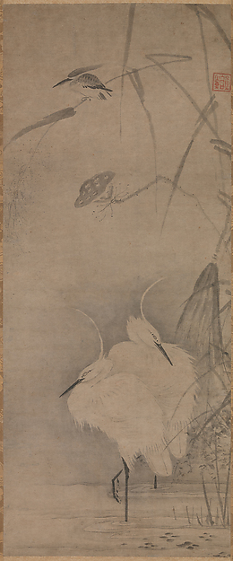 蓮池に白鷺と川蝉図<br/>Two White Egrets and a Kingfisher at a Lotus Pond