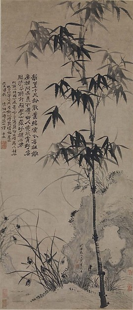 Orchids, Bamboo, and Rocks
