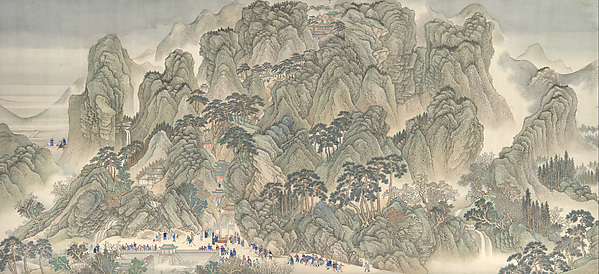 清  王翬等  康熙南巡圖,第三卷: 濟南至泰山<br/>The Kangxi Emperor's Southern Inspection Tour, Scroll Three: Ji'nan to Mount Tai