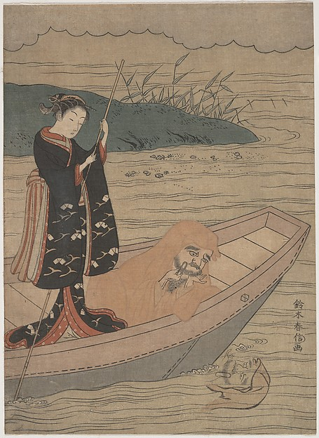 Fascinating Historical Picture of Suzuki Harunobu with Daruma in a Boat with an Attendant in 1767