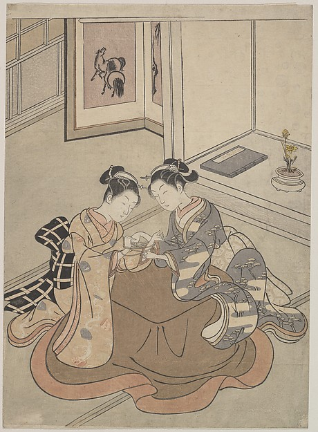 Two Young Women Seated by a Kotatsu Playing Cat's Cradle
