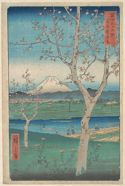 富士三十六景  武蔵越かや在<br/>View of Mount Fuji from Koshigaya, Province of Musashi (Musashi, Koshigaya Zai), from the series Thirty-six Views of Mount Fuji (Fugaku sanjūrokkei)