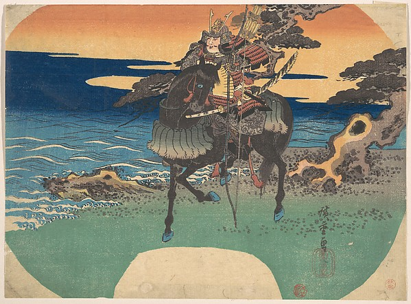 Warrior Riding Black Horse along the Sea Shore
