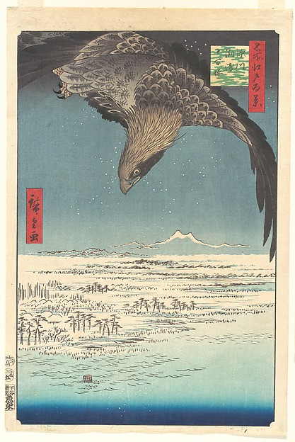 """Jūmantsubo Plain at Fukagawa Susaki,"" from the series One Hundred Famous Views of Edo (Meisho Edo hyakkei, Fukagawa Susaki Jūmantsubo)"